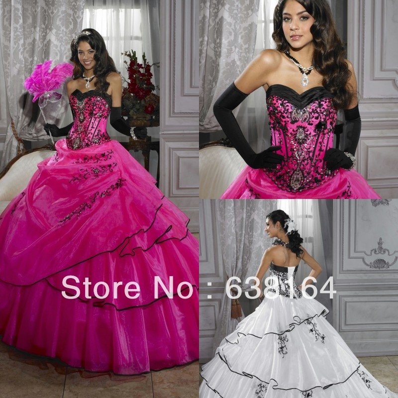 Popular Black and Hot Pink Quinceanera Dresses-Buy Cheap Black and ...