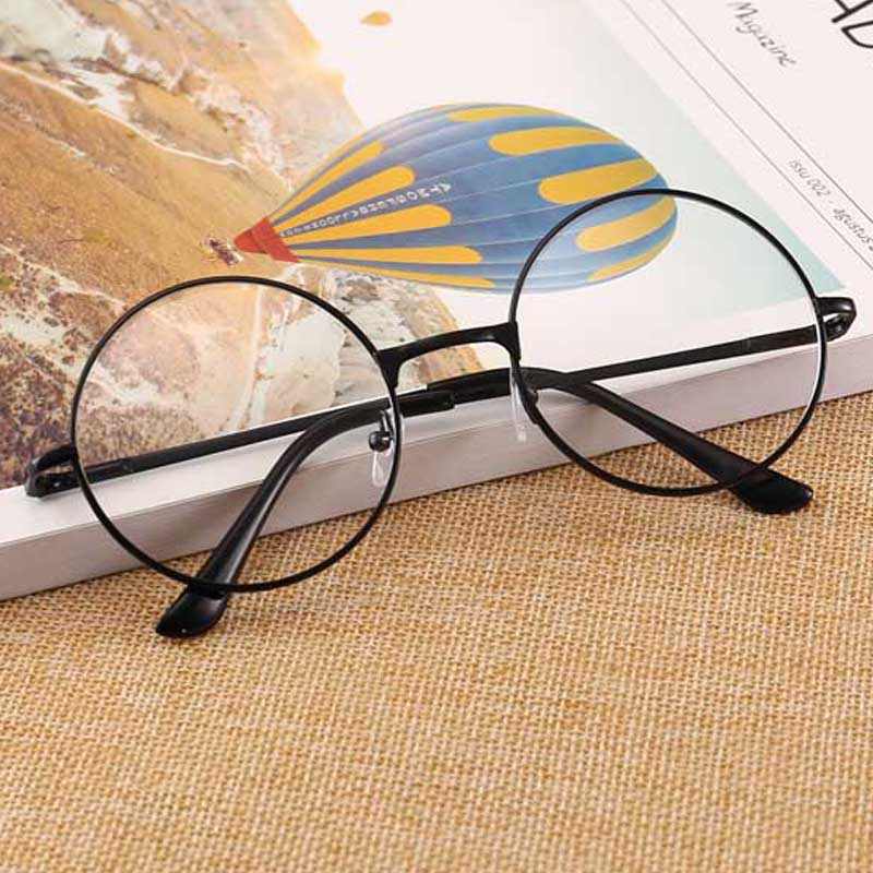 Retro-classic Circular Transparent Lens Metal Frame Men And Women Circular Reading Glasses  Retro-personality College Style