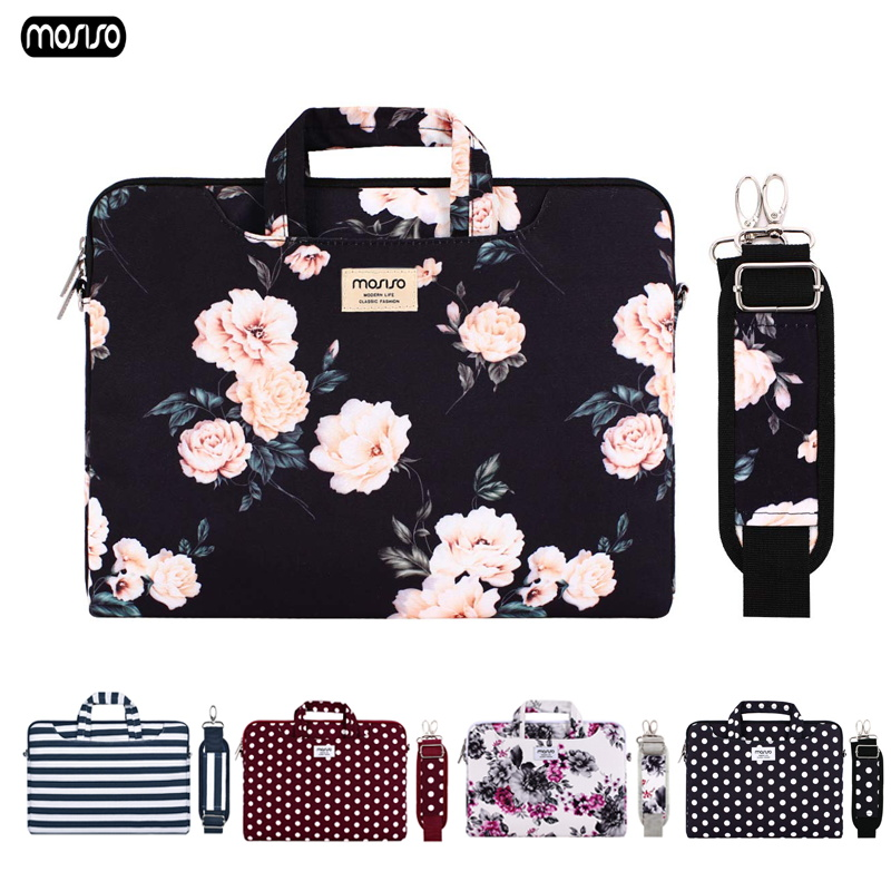 MOSISO Canvas Laptop Bags For Women 13.3 14 15 15.6 Inch For Macbook Air 13 Notebook Shoulder Bag Messenger Handbag Briefcase