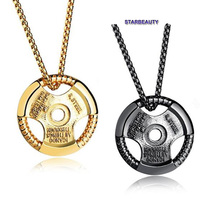 Trendy Bodybuilding Gym Sports Direction Of Disk Necklace Creative Power Pendant Necklaces For Man Men Neckless