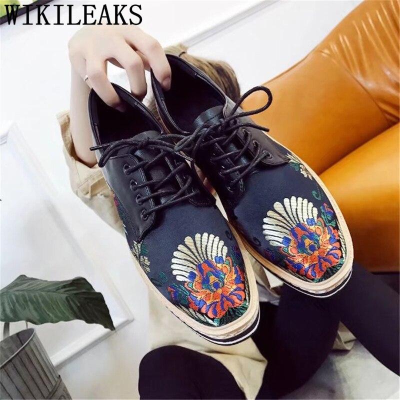 Mujer Femmes Appartements Occasionnels Sapato Feminino Dames Plate De Fleurs Zapatillas Chaussures Luxe Marque Brodées forme Noir Haute Qualité Z76wv
