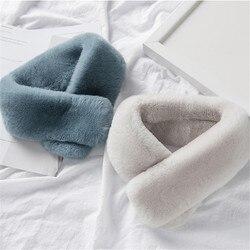 Модный женский зимний толстый шарф из искусственного кроличьего меха, разноцветный однотонный шаль, воротник, болеро, платок, секрет.