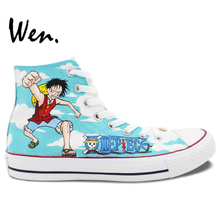 Wen Hand Painted Anime Shoes Design Custom One Piece Luffy Chopper Christmas Gifts for Men Women High Top Canvas Sneakers
