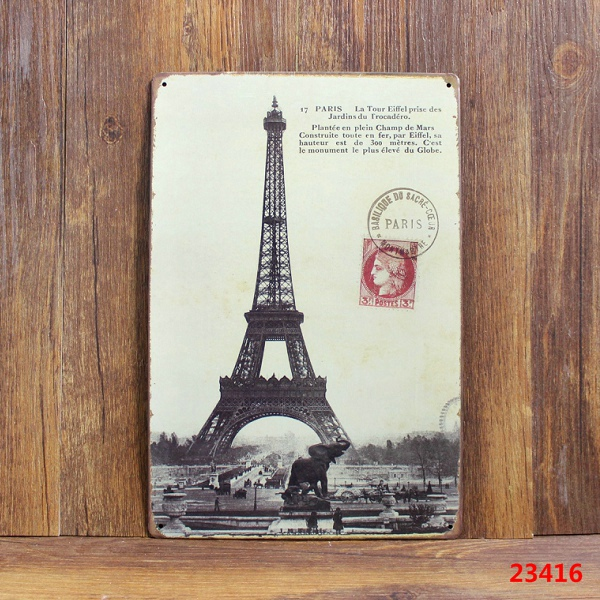 Paris Eiffel Tower Vintage Metal Signs Home Decor Vintage Tin Signs Pub  Vintage Decorative Plates Metal