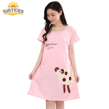 2016  Cotton Cartoon Maternity Dress Sleepwear Pregnant Women Pajamas Nursing  Breast Feeding Nightgown Clothes For short Sleeve