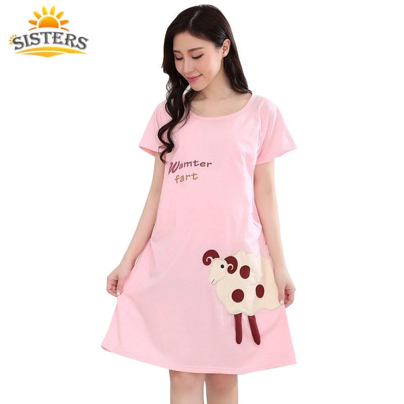 √2016 historieta del algodón vestido de maternidad pijamas mujeres ...
