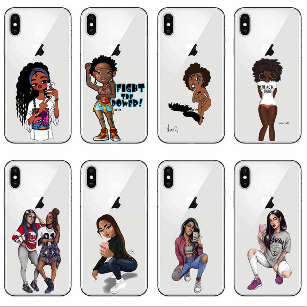 Afro Black Girl Magic Melanin Poppin Art Soft Silicone Tpu