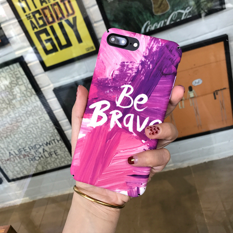 Luxury Retro oil Painting Marble Phone case For iPhone 7 7 Puls 6 6S 7 8 Puls X XS Cases Hard Plastic Matte Purple Back Cover