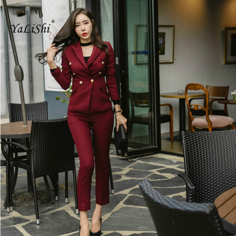 2 Piece Set 2018 Plus Size Women Autumn Red Full Sleeve Notched Suit Button Elegant Office Top and Full Length Casual Work Pants