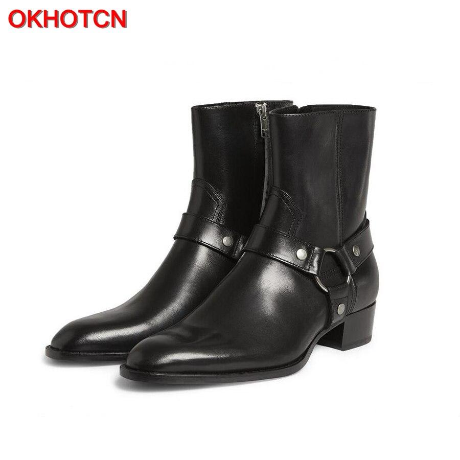 OKHOTCN/винтажные мужские ботинки челси из натуральной кожи и замши в римском стиле, мужские Ботильоны на молнии, мужская повседневная обувь с ...