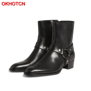 OKHOTCN Vintage Men Chelsea Boots Genuine Leather Suede Rome Style Man Ankle Boots Zipper Male Casual Buckle Shoes Sapato Botas spring men casual shoes winter male luxury trainers adult ankle boots genuine leather hook loop solid suede flatform sneakers