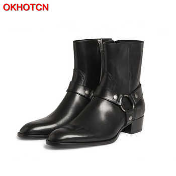 OKHOTCN Vintage Men Chelsea Boots Genuine Leather Suede Rome Style Man Ankle Boots Zipper Male Casual Buckle Shoes Sapato Botas - DISCOUNT ITEM  40% OFF All Category