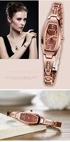 Миже розового золота роскошный Для женщин Повседневные часы сапфир синтетический Стекло 30 м Водонепроницаемый Вольфрам Сталь Браслеты