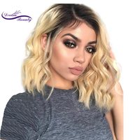 Dream Beauty Short Wavy Brazilian remy Human Hair Lace Front Wig Ombre blond 1B/#613 Bob Cut Lace Wig Pre Plucked Baby Hair