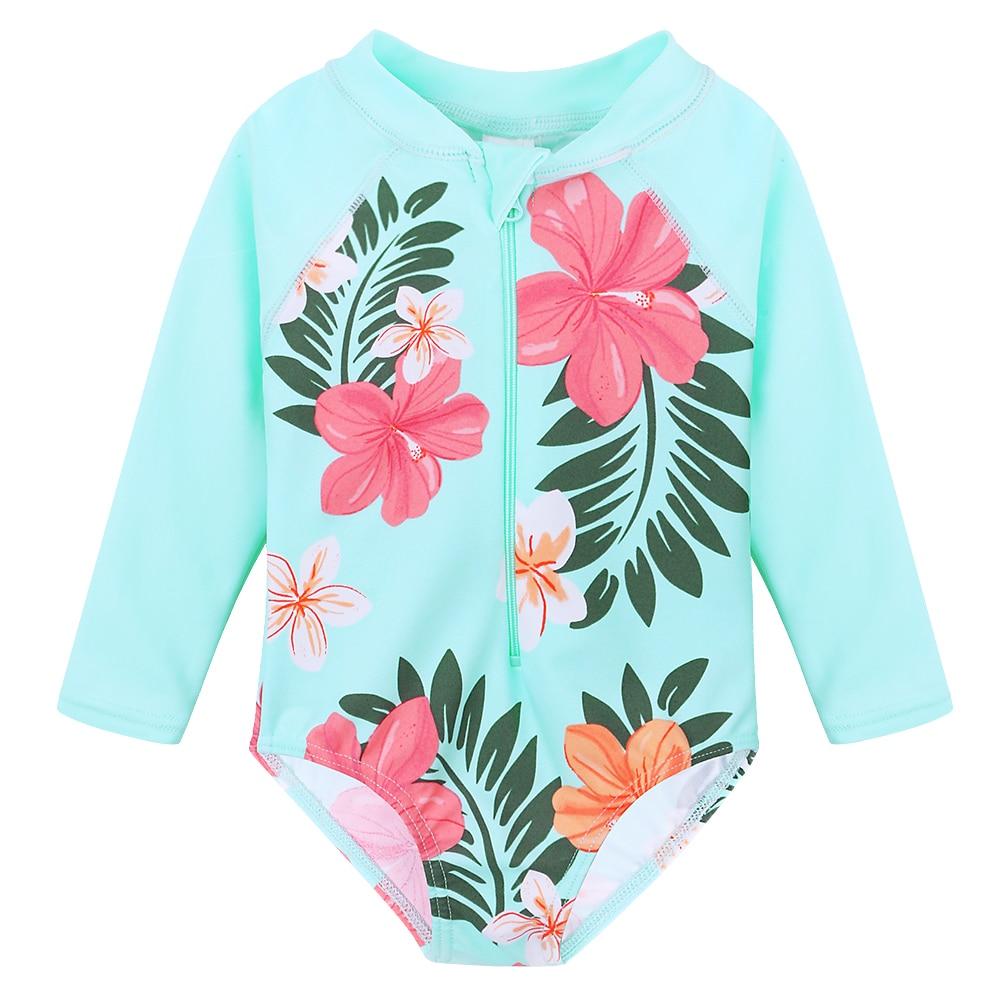 BAOHULU UPF 50 + детская одежда для купания, летняя детская одежда для девочек, солнцезащитный костюм, купальный костюм с длинным рукавом и принтом...