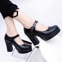Gtime Square High Heels Women Platform Pumps Spring Summer Shallow Mouth Buckle Strap Shoes Round Toe Shoes for Women SE042