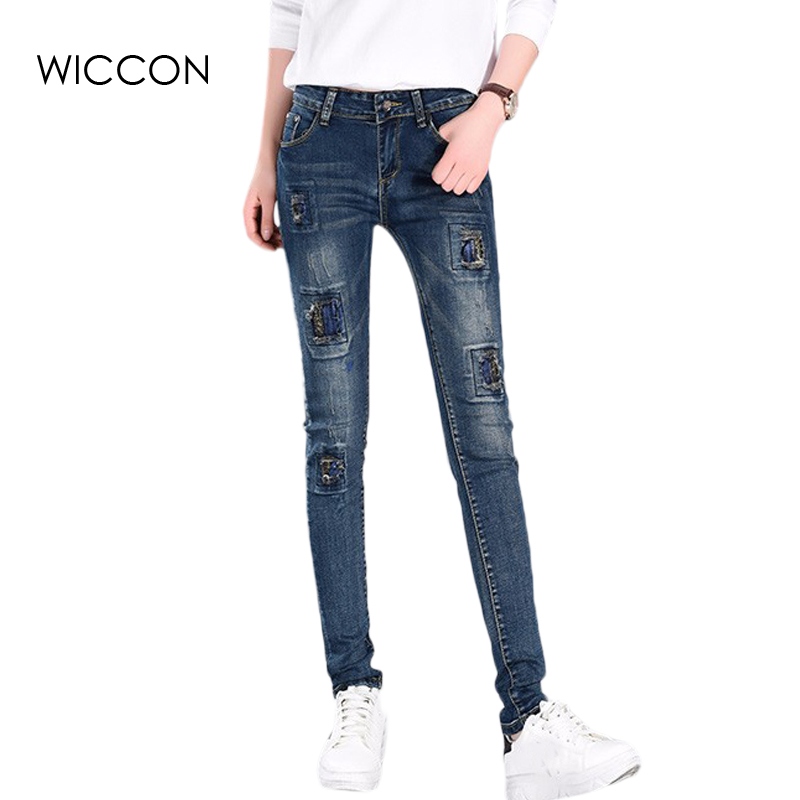 Patchwork skinny jeans woman autumn fashion mid waist Elasticity denim trousers slim full length pants jeans femme WICCON