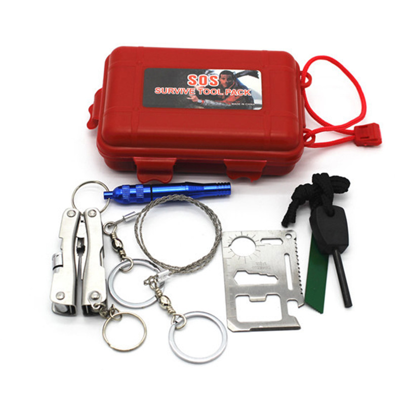 6 in 1 Outdoor Emergency Equipment SOS Kit First Aid kits Supplies Field Self-help Box For Camping Travel Survival Gear Tools