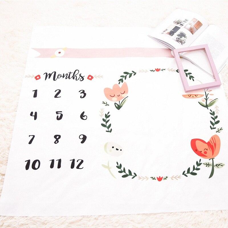 HTB1BJoeX5frK1RjSspbq6A4pFXaN Cartoon Pattern Infant Baby Milestone Photo Props Background Blankets Play Mats Backdrop Cloth Calendar Photo Accessories Nordic