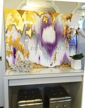 High Skills Painter Team Directly Supply High Quality Abstract Gold Purple and Gray Oil Painting for Wall Canvas Painting