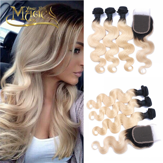 T1b613 Light Blonde Ombre Hair Extensions Dark Roots Blond