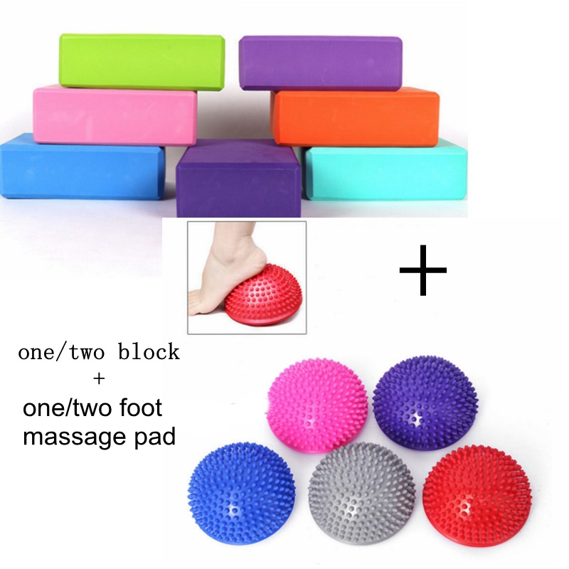 Yoga Ball Yoga Foot Massage Pad Pilates Block Combination for Fitness Indoor Exercise Body Building Entertainment