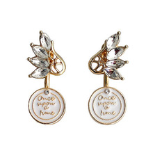 SANSUMMER 2019 New Style Personality Fashionable Alloy Plating Wings Water Drill English Letter Temperament Female Earrings 350