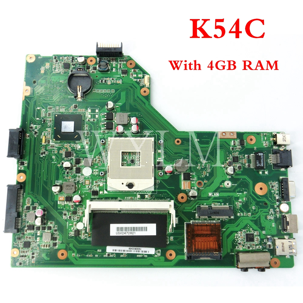 free shipping K54C With 4GB memory mainboard For ASUS A54C X54C K54C laptop motherboard MAIN BOARD 100% Tested Working Well
