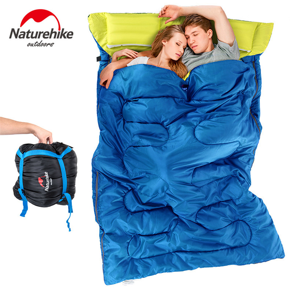 все цены на Naturehike Couples double sleeping bags Outdoor camping hiking envelope sleeping bag 2.15m*1.45m Portable Sleeping Bag Pillow