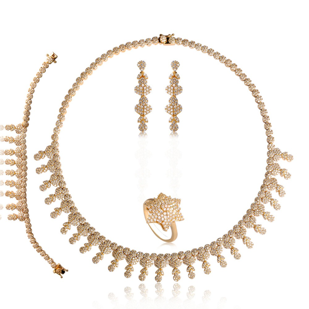 Dazz Wedding Bridal Jewelry Set AAA+ Full Cubic Zircon African Beads Jewelry Sets For Women Earring Wide Ring Necklace 4 Pcs round flowers pendant necklace and stud earring jewelry set for women with aaa cubic zircon hight quality fashion jewelry sets