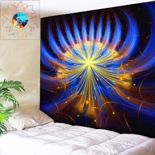Chic Abstract Flower Mandala Tapestry Wall Hanging Boho Decor Psychedelic Hippie Fabric Beach Cloth Rug Blue