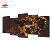 Modern Home Decor Canvas Poster 5pcs Art Module Picture Motorcycle Driver Valentino Rossi Poster HD Printed