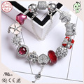 Top Quality Famous Brand LuxuriousRed Series 925 Sterling Silver Flower Charm Bracelet With CZ Paving Clasp