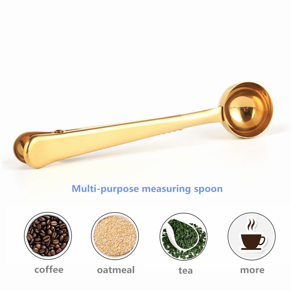1 pcs Multifunctional Stainless Steel Coffee Measuring Scoop With Clip Sealing Tea Measuring Spoon Scoop Kitchen Supplies