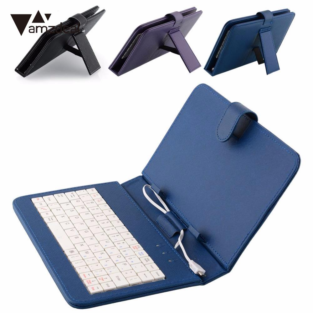 amzdeal Keyboard Case PU Leather Stand Case Cover with MINI Micro USB Keyboard For 7 Inch 7'' Tablet  for 7 7 85 8 9 9 7 10 1 inch tablet russian polish crezh ukrainian spanish micro usb keyboard pu leather cover case free stylus