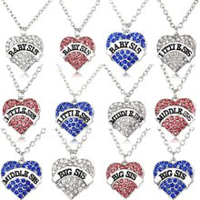 Blue Clear Pink Crystal Heart Pendant Baby Little Middle Big Sis Sister Necklace For Women Girls Family Jewelry BFF Friend Gifts(China)