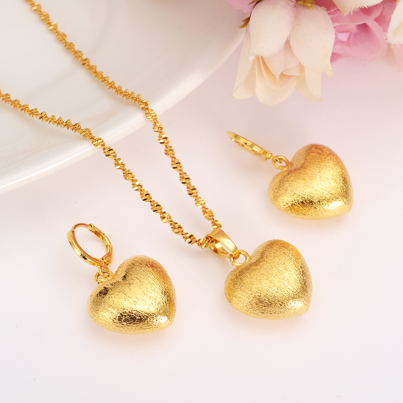 6954c071bdf2b US $6.5 |african Habesha Set Ethiopia heart pendant Necklace/Earrings Gold  Color Dubai Sudan women girls Wedding bridal jewelry Gift-in Bridal Jewelry  ...