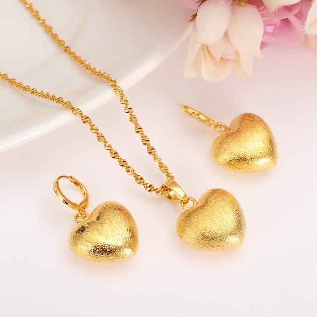 African Habesha Set Ethiopia Heart Pendant Necklace Earrings Gold Color Dubai Sudan Women S Wedding