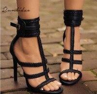 Rumbidzo 2018 Fashion Women Summer High Heels Shoes Women Pumps Peep Toe Rome Party Shoes Thin Heel Buckle Strap Zapatos