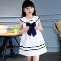 Tutu Vestidos de Las Niñas Adolescentes Ropa Vestidos Del Bowknot Niño Ropa Sin Mangas de Color Puro Cuello de Marinero Desgaste de La Escuela de Algodón Azul