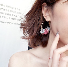 Geometric Round Multi Color Flowers Silver Gold Color Zinc Alloy Stainless Steel Trendy Romantic Big Hoop Earrings цены
