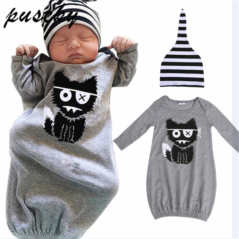 C/&M Newborn Infant Baby Girls Boy Cartoon Dinosaur Pajamas Gown Swaddle Hats 2Pcs Outfits