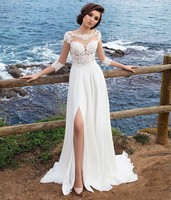 Boho Beach Wedding Dress Chiffon A Line Side Slit Three Quarter Sleeves Sheer Scoop Lace Appliques Bridal Gowns Suknia Slubna