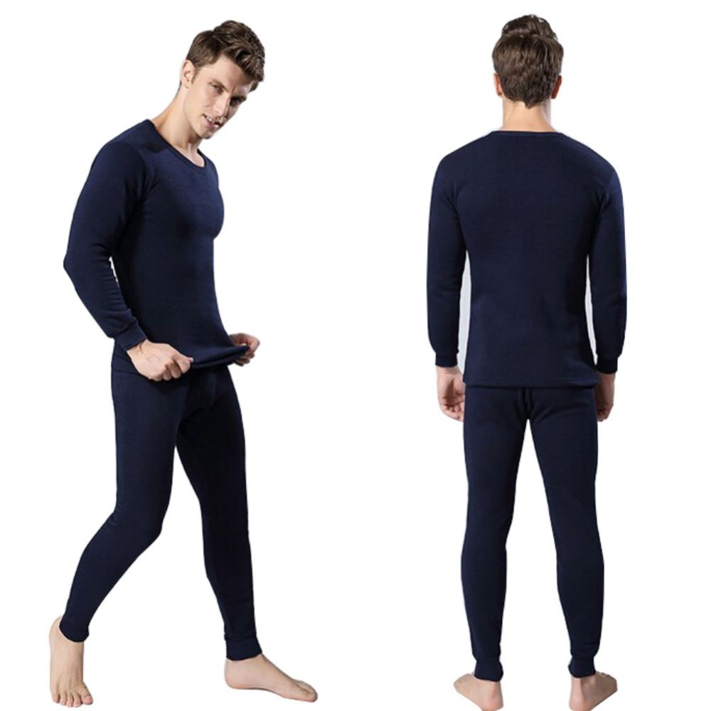 Winter Warm Tops & Pants 2 Piece Male Clothing Set Pullover Men Thermal Underwear Set(China)