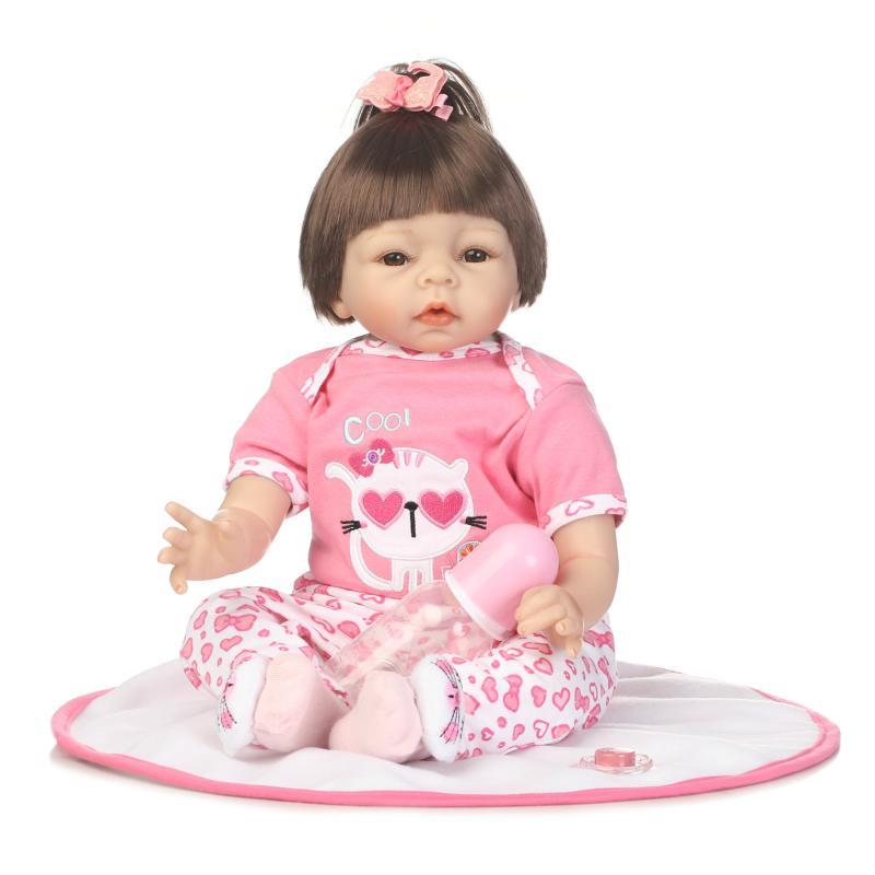 kawaii 22 inch new cute 55 cm silicone doll reborn realistische dolls Toys for girls children boneca find an acrostic mini dolls kawaii baby dolls