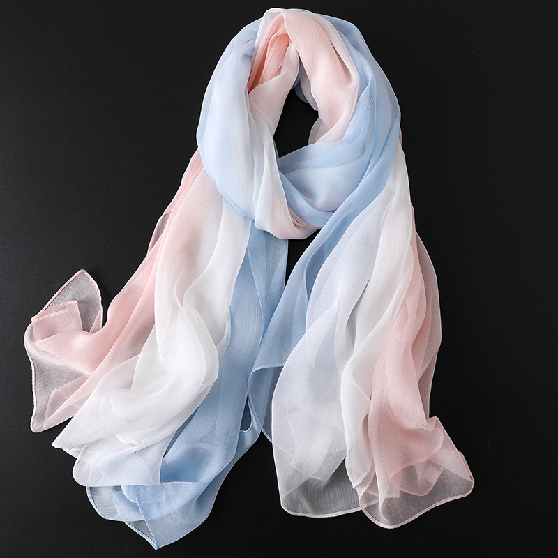 LaMaxPa 2019 New Fashion Spring Solid Silk   Scarf   For Women/Ladies Gradient Long Soft   Wraps   and Shawls Beach Female Foulard