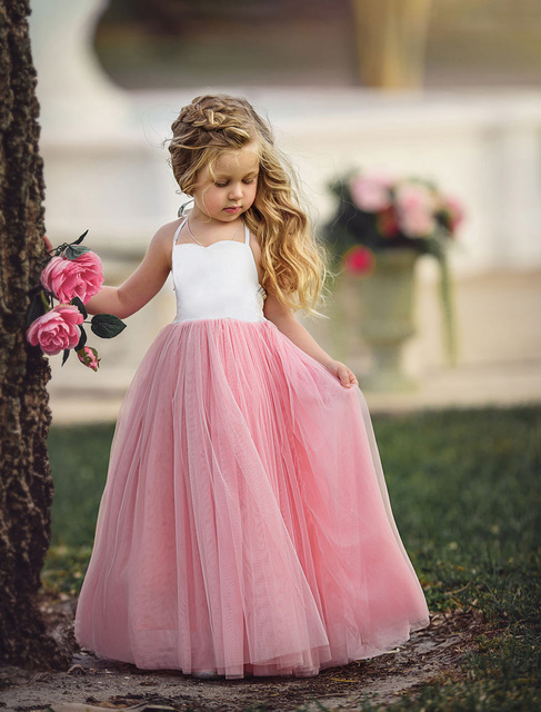 52813a6a5 Children Girls Dress White Pink Tulle Maxi Sling Dresses For Girls Birthday  Party Flower Girl Dress Prom Gown Dress