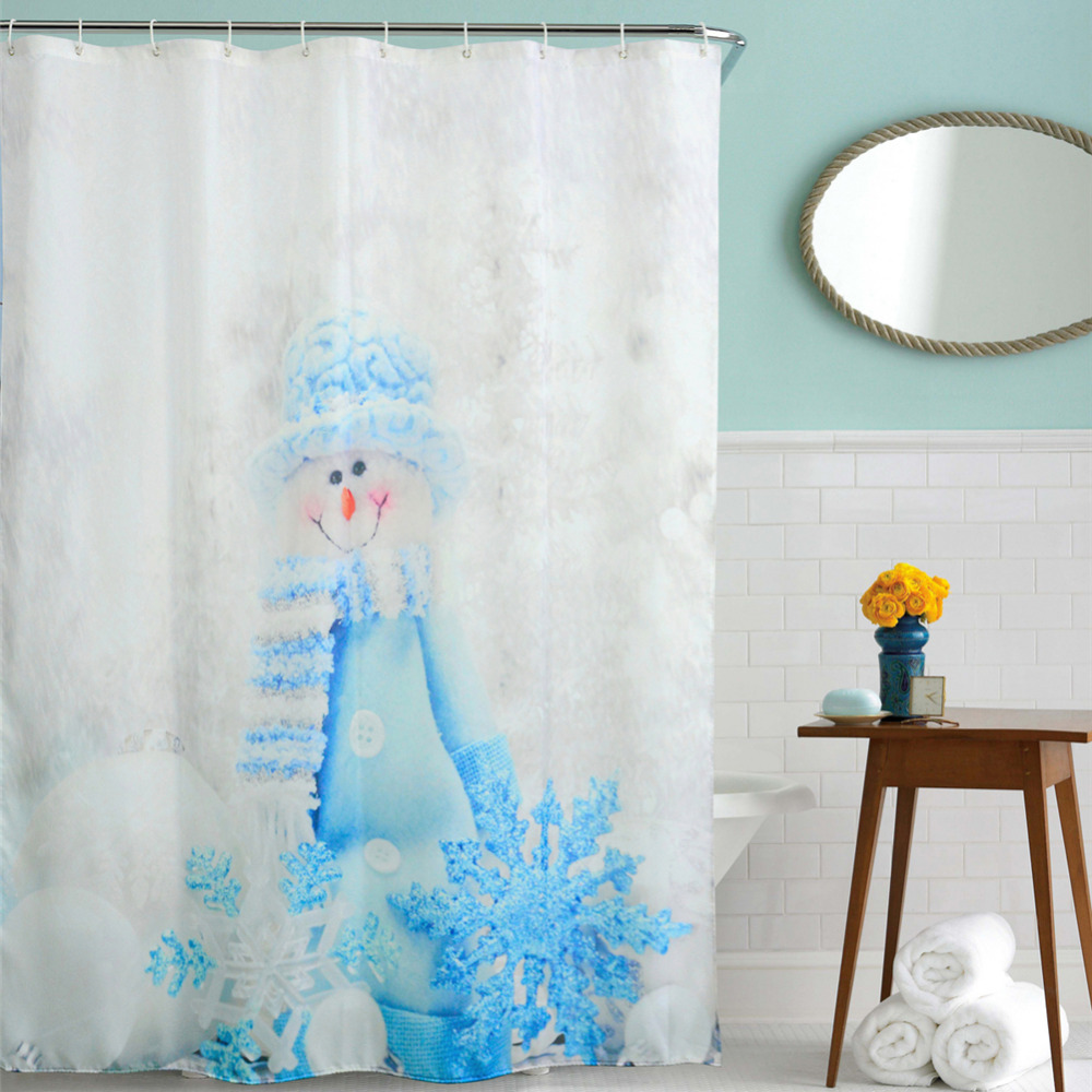 Winter shower curtain - 2016 Waterproof Christmas Lantern Snowman Polyester Shower Curtain Bath Bathing Sheer Curtain For Home Decorations