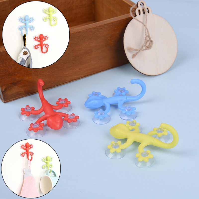 Gecko Powerful Plastic Four Suction Cups Hook Wall Hanger Decoration Household Bathroom Home Storage Sucker Hooks