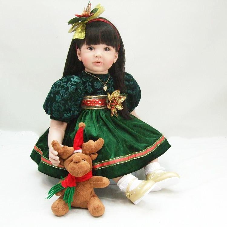 Pretty girl princess Bebe reborn toddler doll 60cm silicone vinyl reborn baby dolls toys for children gift boneca
